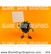 Vector Illustration of a 3d Blackberry Character Holding up a Blank Sign over Yellow by Julos