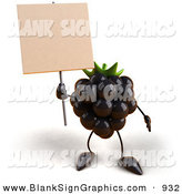Vector Illustration of a 3d Blackberry Character Holding up a Blank White Sign by Julos