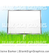 Vector Illustration of a 3d Blank Billboard Sign in a Grassy Field, Against a Blue Sky by Elaineitalia