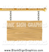 Vector Illustration of a 3d Blank Wood Sign Suspended from a Gold Rod by AtStockIllustration