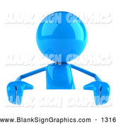 Vector Illustration of a 3d Blue Bob Character Standing Behind a Blank White Sign by Julos