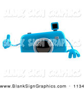 Vector Illustration of a 3d Blue Camera Boy Character Giving the Thumbs up to the Viewer and Standing Behind a Blank Sign by Julos