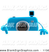 Vector Illustration of a 3d Blue Camera Boy Character Pointing down and Standing Behind a Blank Sign on White by Julos