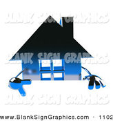 Vector Illustration of a 3d Blue Chrome Home Character Pointing down and Standing Behind a Blank Sign by Julos