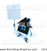 Vector Illustration of a 3d Blue Chrome House Character Holding up a Blank Sign on White by Julos