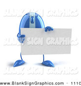 Vector Illustration of a 3d Blue Computer Mouse Character Standing and Holding a Blank Business Card by Julos