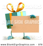 Vector Illustration of a 3d Blue Gift Character Holding a Blank Business Card by Julos