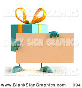 Vector Illustration of a 3d Blue Gift Character Holding a Blank Business Card on White by Julos