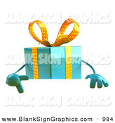February 22nd, 2013: Vector Illustration of a 3d Blue Gift Character Standing Behind a Blank Sign by Julos
