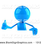 Vector Illustration of a 3d Blue Man Character Giving the Thumbs up and Standing Behind a Blank Sign by Julos