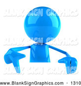 Vector Illustration of a 3d Blue Man Character Pointing down and Standing Behind a Blank Sign by Julos