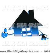 Vector Illustration of a 3d Blue Metallic House Character Giving the Thumbs up and Standing Behind a Blank Sign by Julos