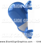 April 4th, 2013: Vector Illustration of a 3d Blue Pill Character Looking Around a Blank Sign on White by Julos