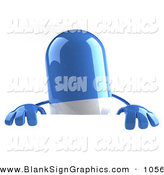 Vector Illustration of a 3d Blue Pill Character Standing Behind a Blank Sign on White by Julos