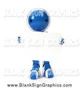 Vector Illustration of a 3d Blue Robot Carrying a Blank Sign, on a White Background by Leo Blanchette