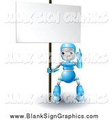 Vector Illustration of a 3d Blue Robot Pointing up to a Blank Sign by AtStockIllustration