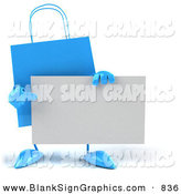 Vector Illustration of a 3d Blue Shopping Bag Character Holding and Pointing to a Blank Business Card by Julos