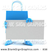 Vector Illustration of a 3d Blue Shopping Bag Holding a Blank White Business Card by Julos