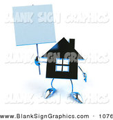 Vector Illustration of a 3d Blue Silver House Character Holding up a Blank Sign by Julos