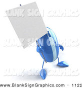 Vector Illustration of a 3d Blue Striped Computer Mouse Character Holding up a Blank Sign by Julos