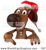 Vector Illustration of a 3d Brown Christmas Dog Character Pointing down at and Standing Behind a Blank Sign by Julos