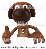 Vector Illustration of a 3d Brown Dog Character Giving the Thumbs up and Standing Behind a Blank Sign by Julos