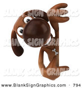 Vector Illustration of a 3d Brown Dog Character Pointing at and Looking Around a Sign by Julos
