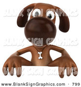 Vector Illustration of a 3d Brown Dog Character Standing Behind a Blank Sign by Julos