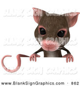 Vector Illustration of a 3d Brown Mouse Character Holding a Blank Sign by Julos
