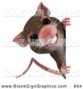 Vector Illustration of a 3d Brown Mouse Character Looking Around a Blank Sign by Julos