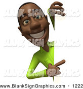 Vector Illustration of a 3d Casual Black Man Character in a Green Shirt Pointing and Looking Around a Blank Sign by Julos