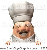 Vector Illustration of a 3d Cheerful Chubby Chef Steve Character Standing Behind a Blank Sign by Julos