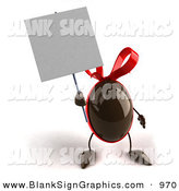 Vector Illustration of a 3d Chocolate Easter Egg Character Holding up a Blank White Sign by Julos