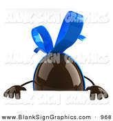Vector Illustration of a 3d Chocolate Easter Egg Character Standing Behind a Blank White Sign by Julos
