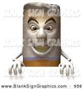 Vector Illustration of a 3d Cigarette Character Standing Behind a Blank Sign and Looking Forward by Julos