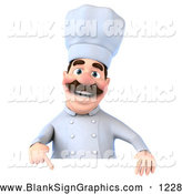 Vector Illustration of a 3d Cooking Chef George Character Pointing down and Standing Behind a Blank Sign by Julos