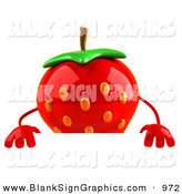 Vector Illustration of a 3d Curious Strawberry Character Standing Behind a Blank Sign by Julos