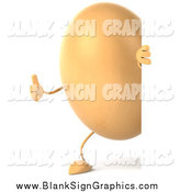 Vector Illustration of a 3d Egg Character Looking Around a Sign and Holding a Thumb up by Julos