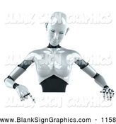 Vector Illustration of a 3d Female Robot Character Pointing down and Standing Behind a Blank Sign by Julos