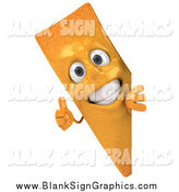 Vector Illustration of a 3d French Fry Character Holding a Thumb up Around a Sign by Julos