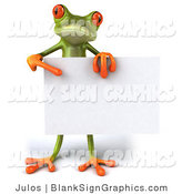 Vector Illustration of a 3d Frog Holding a Blank Sign by Julos