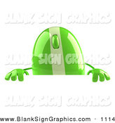 Vector Illustration of a 3d Green and Gray Computer Mouse Character Standing Behind a Blank Sign by Julos