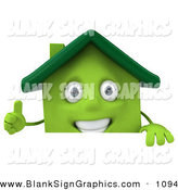 Vector Illustration of a 3d Green Clay House Character Giving the Thumbs up and Standing Behind a Blank Sign by Julos