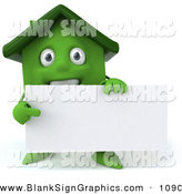 Vector Illustration of a 3d Green Clay House Character Holding a Blank Business Card on White by Julos