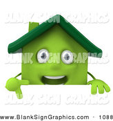 Vector Illustration of a 3d Green Clay House Character Pointing down and Standing Behind a Blank Sign by Julos