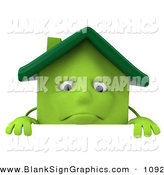 Vector Illustration of a 3d Green Clay House Character Standing Behind a Blank Sign by Julos