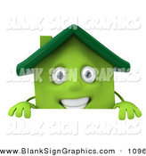 Vector Illustration of a 3d Green Clay House Character Standing Behind a Sign Board by Julos