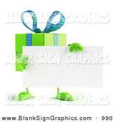 Vector Illustration of a 3d Green Gift Character Holding a Blank Business Card by Julos