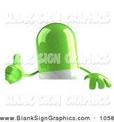 Vector Illustration of a 3d Green Pill Character Giving the Thumbs up on White by Julos