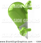 Vector Illustration of a 3d Green Pill Character Looking Around a Blank White Sign by Julos
